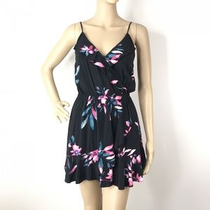 Express Black Tropical Floral Ruffle Mini Dress S